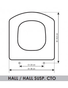 SEDILE WC ROCA HALL/HALL SUP.COMPACT ADATTABILE IN RESIWOOD