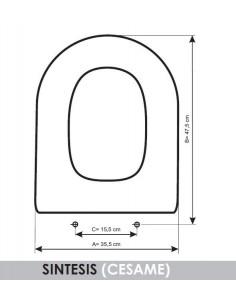 abattant du wc cesame aretusa adaptable in resiwood. Black Bedroom Furniture Sets. Home Design Ideas