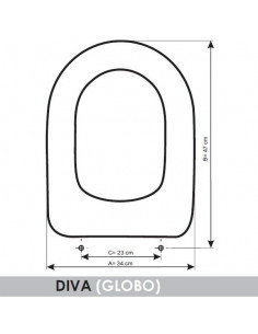 SEAT WC GLOBO DIVA ADAPTABLE IN RESIWOOD